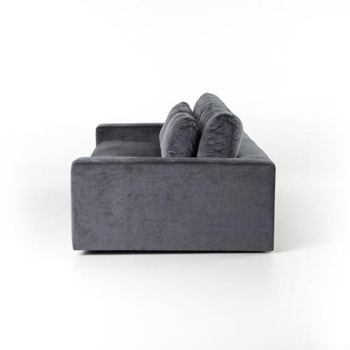 "Charcoal Worn Velvet Cover Bloor 98"" Sofa"