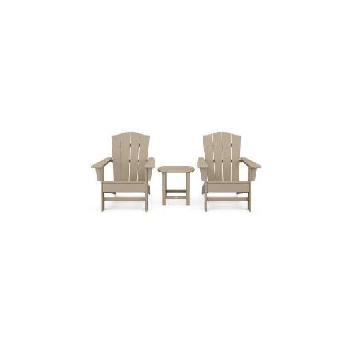 Polywood Furnishings - Wave 3-Piece Adirondack Chair Set with The Crest Chairs in Vintage Sahara