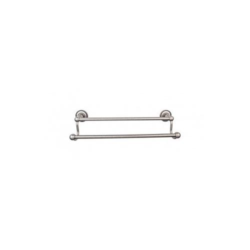 Edwardian Bath Towel Bar 24 In. Double - Beaded Bplate - Antique Pewter