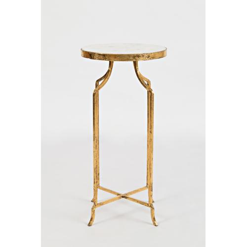 Global Archive Marble and Gold Round Accent Table