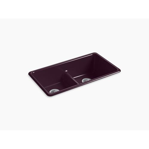 "Black Plum 33"" X 18-3/4"" X 9-5/8"" Smart Divide Top-mount/undermount Double-equal Kitchen Sink"