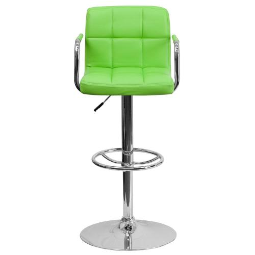 Alamont Furniture - Contemporary Green Quilted Vinyl Adjustable Height Barstool with Arms and Chrome Base