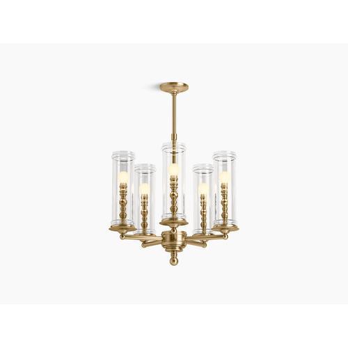 Modern Brushed Gold Five-light Chandelier