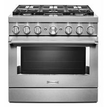 View Product - KitchenAid® 36'' Smart Commercial-Style Dual Fuel Range with 6 Burners - Stainless Steel