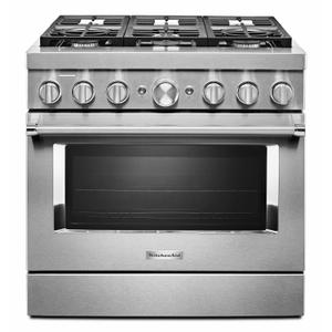 KitchenAid® 36'' Smart Commercial-Style Dual Fuel Range with 6 Burners - Stainless Steel Product Image