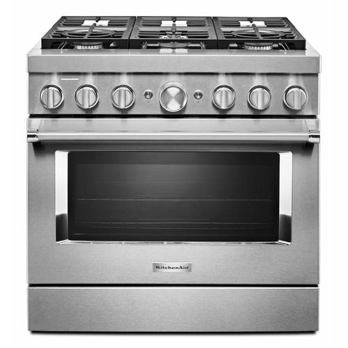 KitchenAid - KitchenAid® 36'' Smart Commercial-Style Dual Fuel Range with 6 Burners - Stainless Steel