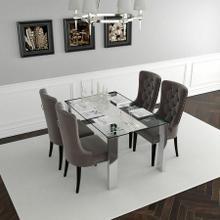 See Details - Frankfurt/Rizzo 5pc Dining Set, Chrome/Grey