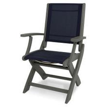 View Product - Coastal Folding Chair in Slate Grey / Navy Blue Sling