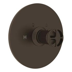 Campo Thermostatic Trim Plate without Volume Control - Tuscan Brass with Industrial Metal Wheel Handle