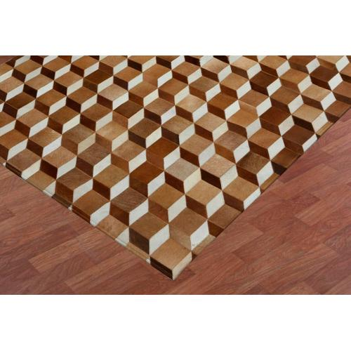 This hair on hide leather rug gives warmth to hardwood and marble floors. The tumble block pattern has a classic illusion in natural hide tones combining warm white, vanilla, and eggshell colors with diverse espresso, chocolate and bronze on opposing sides. Variations in shades and pile direction are a common characteristic of natural skins. This is an all natural animal skin product that with regular wear will change in look over time. This hand assembled product is not recommended for high traffic areas such as dining rooms, and special care should be exercised when moving furniture.