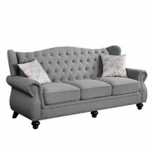 ACME Hannes Sofa w/2 Pillows - 53280 - Traditional - Fabric, Frame: Wood (Pine+Ply), Foam (D); Wood Leg - Gray Fabric
