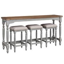 See Details - Counter Table and 3 Stools - Oak/Brushed Gray Finish