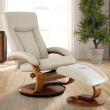 Hamar Recliner & Ottoman in Beige Air Leather
