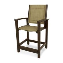 Mahogany & Burlap Coastal Counter Chair
