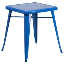 See Details - 23.75'' Square Blue Metal Indoor-Outdoor Table
