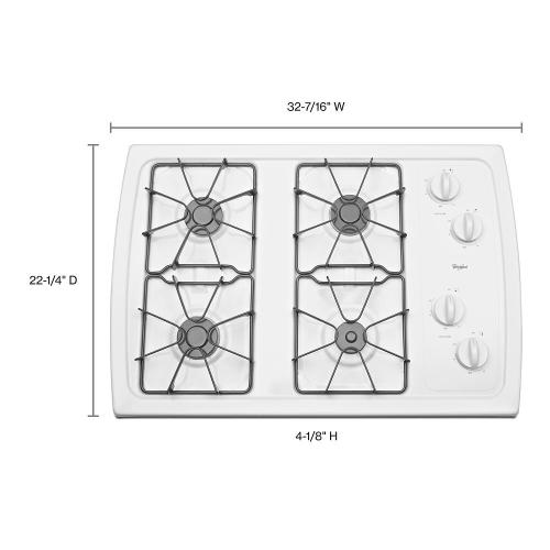 Whirlpool - 30-inch Gas Cooktop with 5,000 BTU AccuSimmer® Burner