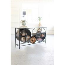 See Details - iron and glass circles console