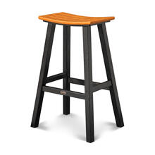 "Black & Tangerine Contempo 30"" Saddle Bar Stool"
