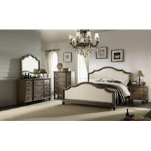 ACME Baudouin Queen Bed - 26110Q - Beige Linen & Weathered Oak