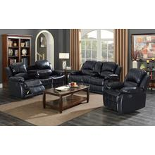Kaden Black Bonded Leather Reclining Sofa with Drop-Down Console