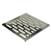 """Polished Nickel - Natural 4"""" Square Shower Drain"""