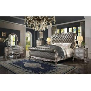 ACME Dresden Eastern King Bed - 28187EK - Traditional, Vintage - PU, Wood (Aspen), Ply, Poly-Resin - Vintage Bone White and PU