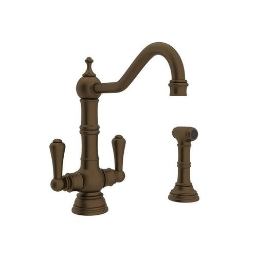 Edwardian Single Hole Kitchen Faucet with Lever Handles and Sidespray - English Bronze with Metal Lever Handle