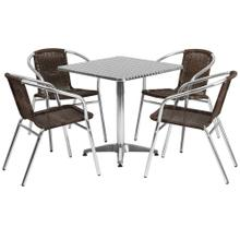 27.5'' Square Aluminum Indoor-Outdoor Table Set with 4 Dark Brown Rattan Chairs