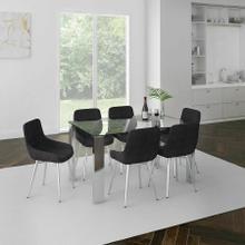 See Details - Frankfurt/Cassidy 7pc Dining Set, Chrome/Black