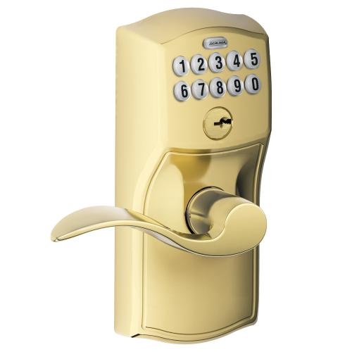 Schlage - Connected Keypad Lever with Camelot trim and Accent Lever - Bright Brass