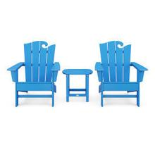 View Product - Wave 3-Piece Adirondack Set with The Ocean Chair in Vintage Pacific Blue