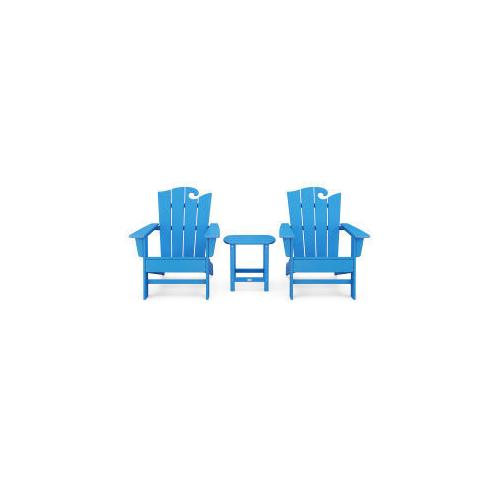 Polywood Furnishings - Wave 3-Piece Adirondack Set with The Ocean Chair in Vintage Pacific Blue
