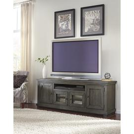 """See Details - 74\"""" Console - Distressed Dark Gray Finish"""