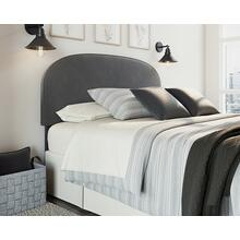Dark Gray Velvet Queen Bed Headboard
