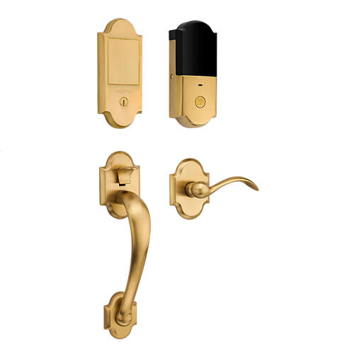 Lifetime Satin Brass Boulder Touchscreen Dummy Handleset