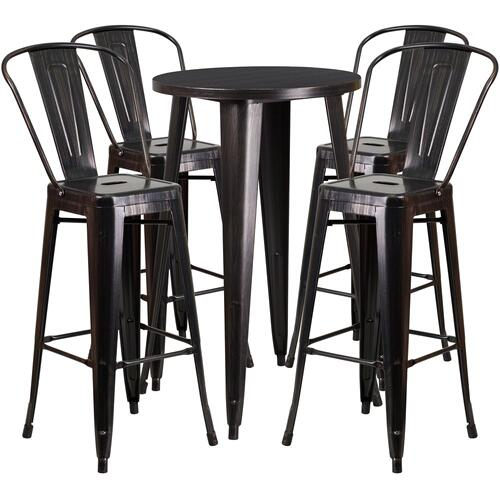 24'' Round Black-Antique Gold Metal Indoor-Outdoor Bar Table Set with 4 Cafe Stools