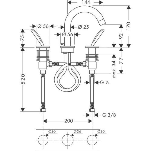 Brushed Gold Optic 3-hole basin mixer 90 with pop-up waste set