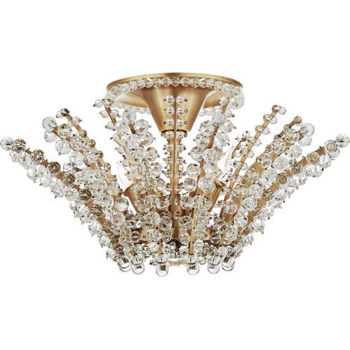 AERIN Serafina 4 Light 19 inch Hand-Rubbed Antique Brass Semi-Flush Chandelier Ceiling Light, Small
