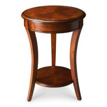The modest proportions of this elegant accent table make ideal for use in small spaces. Crafted from select hardwood solids and wood products, it features a rich Olive Ash Burl finish with a display shelf below. It boasts a matched cherry veneer top with a center inlay pattern of maple and walnut veneers all encompassed within an olive ash burl veneer border.