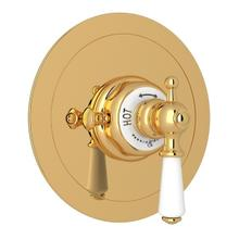 English Gold Perrin & Rowe Edwardian Era Round Thermostatic Trim Plate Without Volume Control with Edwardian Metal Lever