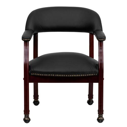 Black Top Grain Leather Conference Chair with Accent Nail Trim and Casters