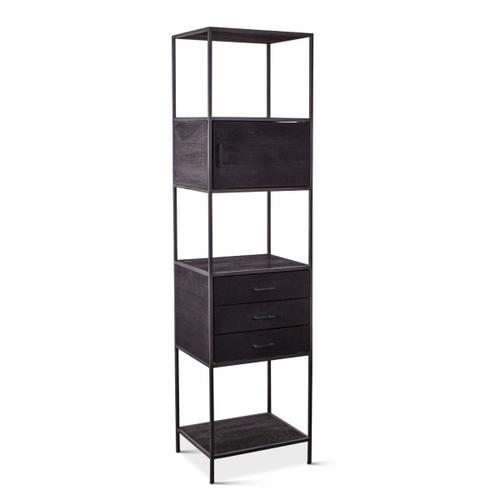 New York Tall Iron and Wood Cabinet