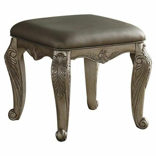 ACME Northville Vanity Stool - 26943 - PU & Antique Silver