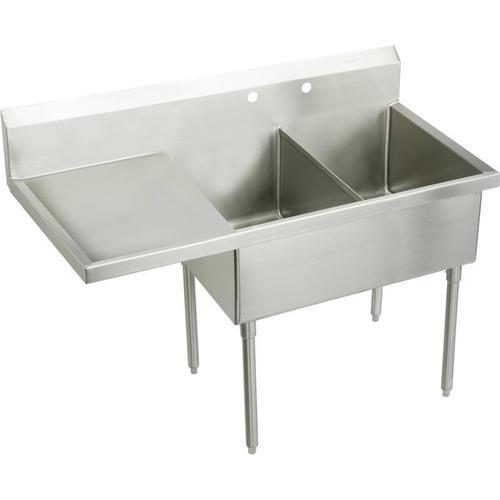 "Elkay Sturdibilt Stainless Steel 73-1/2"" x 27-1/2"" x 14"" Floor Mount, Double Compartment Scullery Sink w/ Drainboard"