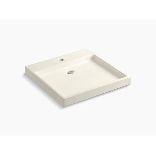 Biscuit Fireclay Vessel Bathroom Sink With Single Faucet Hole