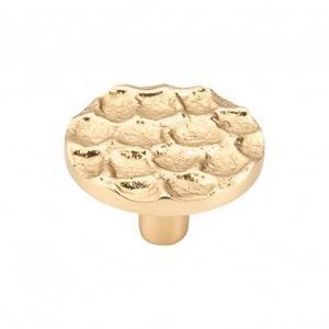 Cobblestone Round Knob 1 15/16 Inch - Polished Brass