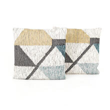"24x24"" Size Cream Color Block Pillow, Set of 2"