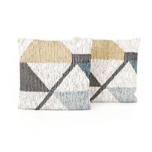 "24x24"" Size Cream Color Block Pillow, Set of 2"