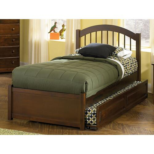 Atlantic Furniture - Windsor Twin Flat Panel Foot Board with Raised Panel Trundle Walnut