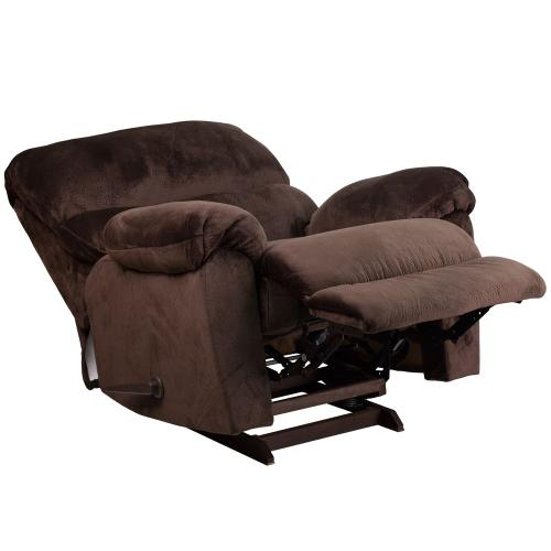 Contemporary Sharpei Chocolate Microfiber Rocker Recliner